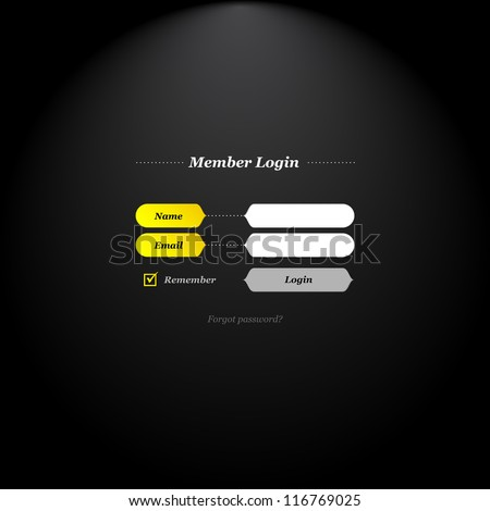 Member login form with trendy fields and buttons shapes and simply classical type.