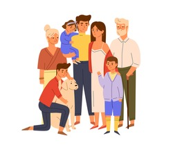 Members of big happy family standing together with senior grandparents, parents, children and dog. Portrait of mother and father with kids. Color flat vector illustration isolated on white background