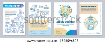 Membership brochure template layout. Partnership agreement.  Flyer, booklet, leaflet print design with linear illustrations. Vector page layouts for magazines, annual reports, advertising posters