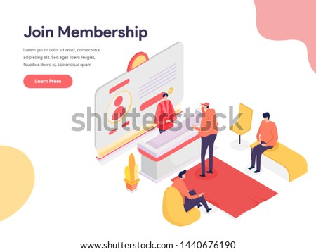 Membership Illustration Concept. Isometric design concept of web page design for website and mobile website.Vector illustration Stock photo ©