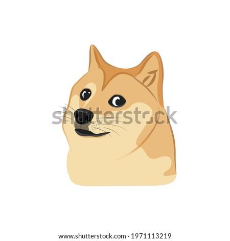 Meme Dog, Dogecoin, DOGE Cryptocurrency, Viral Meme, To The Moon, Funny Dog, Dog Illustration, Dog Vector, Cute Puppy, Shiba Inu, Japanese Breed, Vector Illustration