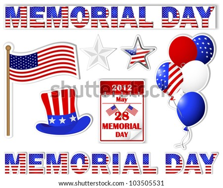 a95e3569d49 Memorial day. A set stickers of different icons with a picture the ...