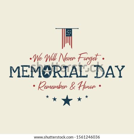 Memorial Day background or banner design with american color flag. Design vintage letter background. Vector illustration EPS.8 EPS.10