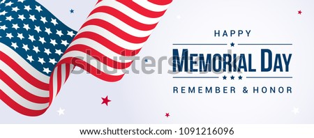 Memorial Day Banner Vector illustration, USA flag waving with stars on bright background.