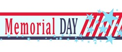 Memorial Day banner with stars, stripes and lettering. Template for Memorial Day. Vector illustration.