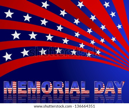 Memorial Day. Beautiful text with the pattern of the American flag on a festive background with stars. Vector illustration.