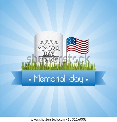memorial day card over blue background. vector illustration