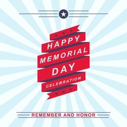 Memorial Day celebration background. Template for Memorial Day design. Vector illustration.
