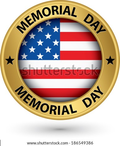 Memorial day gold label with USA flag vector illustration