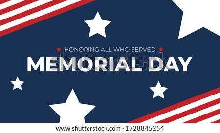 Memorial Day - Honoring All Who Served Text with American Flag Border and Stars, Patriotic Vector Illustration