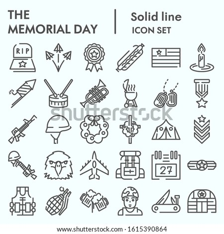 Memorial day line icon set, holiday symbolism symbols collection, vector sketches, logo illustrations, patriotic army signs linear pictograms package isolated on white background, eps 10