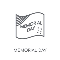 Memorial Day linear icon. Modern outline Memorial Day logo concept on white background from United States of America collection. Suitable for use on web apps, mobile apps and print media.