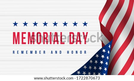 Memorial Day - Remember and Honor Poster. Usa memorial day celebration. American national holiday. Invitation template with red text and waving us flag on white wooden background. Vector illustration