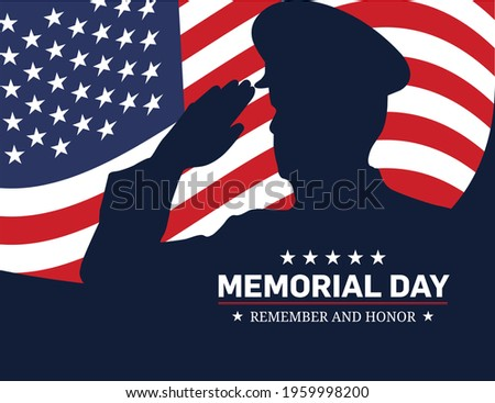 Memorial Day - Remember and honor with USA flag, Vector illustration. Memorial Day concept with salute vector illustration.