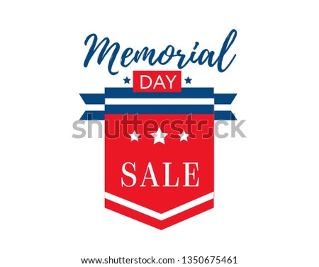 Memorial Day Sale background or banner. Memorial Day poster design. Vector illustration.