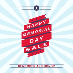 Memorial Day sale background. Template for Memorial Day design. Vector illustration.