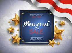 Memorial day sale banner with flag and golden stars. Vector