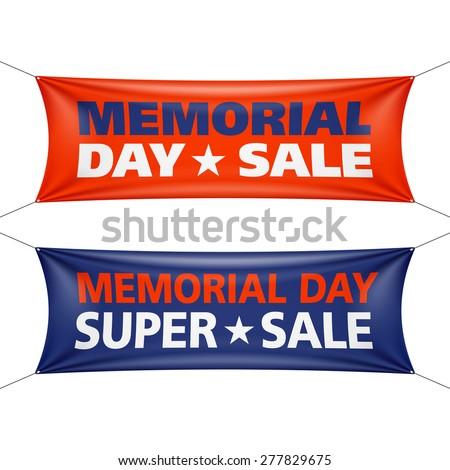 Memorial Day sale banners. Vector.