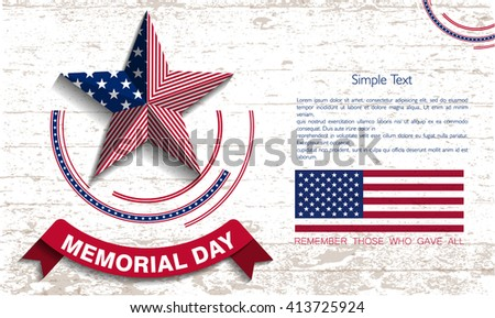 Memorial Day. Star. Abstract memorial day background. Vector illustration.