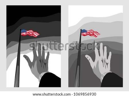Memorial Day, 4th of July, Independence Day in USA - American flag in the sky, waving by wind. Hand extended. Vector monochrome poster, print. Patriotism, democracy, unity nation. Abolition Of Slavery