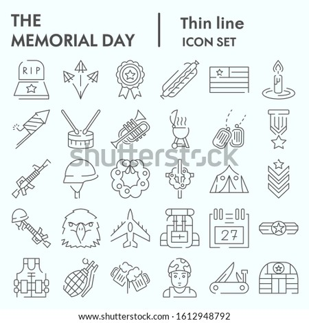 Memorial day thin line icon set, holiday symbolism symbols collection, vector sketches, logo illustrations, patriotic army signs linear pictograms package isolated on white background, eps 10