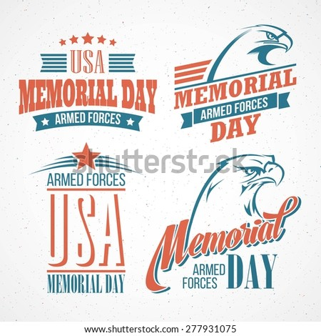 Memorial Day. Typographic card with the American flag and eagle. Vector illustration EPS 10.