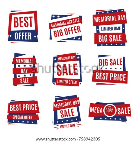 Memorial Day. Typography design layout for USA Memorial Day events, sales, promotion