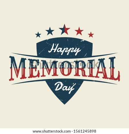 Memorial Day with shield background or banner design with american color flag. Design vintage letter background. Vector illustration EPS.8 EPS.10