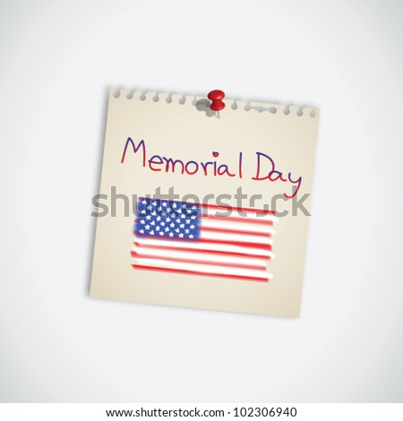 Memorial Day with the American Flag on Note Paper Vector