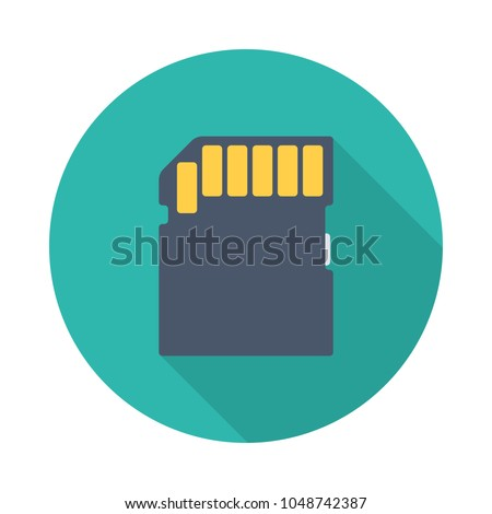 Memory card flat icon with long shadow isolated on blue background. Simple memory card in flat style, vector illustration.
