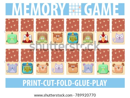 Memory card game with cartoon animals. Different domestic pets. Print, cut, fold, glue, play. A4 page proportions. Vector illustration. Parrot, bird, turtle, hamster, fish, cat, dog, mouse.