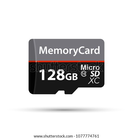 Memory Card Micro SD. 128 GB. Vector stock illustration
