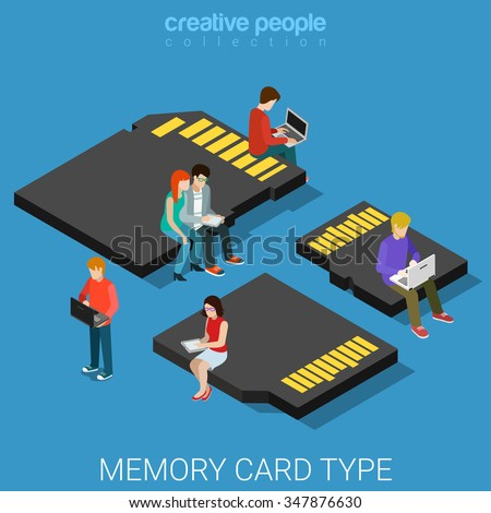 Memory card type size flat 3d isometry isometric data storage concept web vector illustration. Micro people standing on classic SD, mini and micro security digital MMC. Creative people collection.