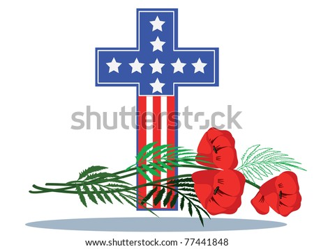 Memory day,cross with poppies,vector - stock vector