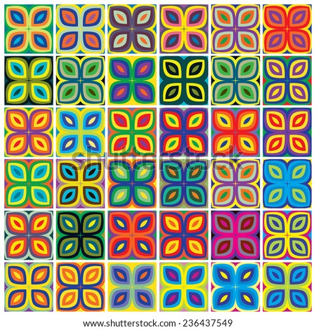 Memory Game for Kids. Set of thirty six different floral pattern with seven colors each for memory training in early childhood education, vector and seamless