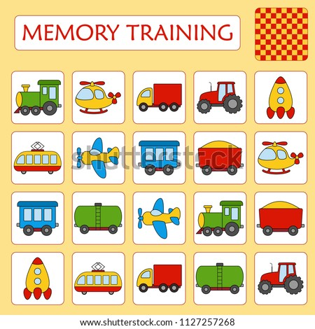 Memory game for preschool children. Set of paired cards for the development and training of children's memory. Cards on the theme of transport. Vector illustration