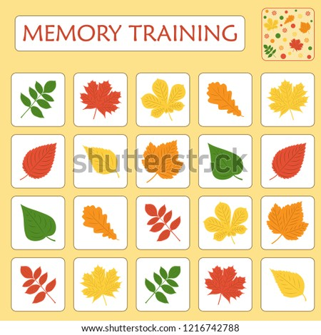 Memory game for preschool children. Set of paired cards for the development and training of children's memory. Cards on the autumn theme. Vector illustration