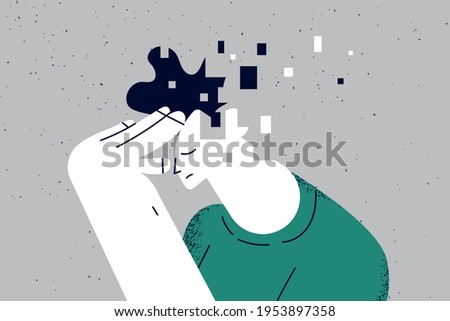 Memory loss and dementia, brain damage concept. Profile of sad man losing parts of his head as symbol of reduced function of brain and mind sitting alone vector illustration