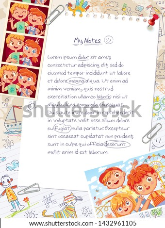 Memory page from a children's diary with attached photos, handwritten notes and freehand drawings. Page layout template for your design. Template for advertising brochure. Ready for your message
