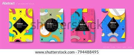 Memphis and hipster style brochure, colorful geometric elements with zigzag pattern, trendy flyer set