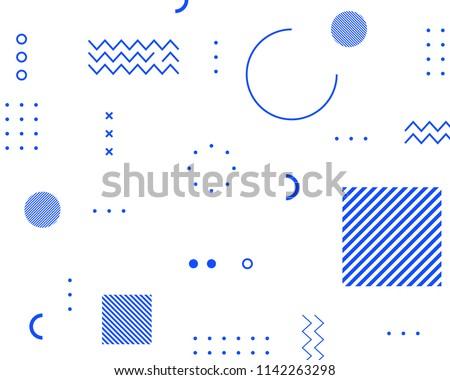 Memphis blue geometric shapes patterns. Fashion 80-90s