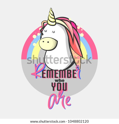 Memphis card with unicorn, geometric elements and retro illustrations. vector banner in trendy 90s memphis style. cover design, advertising, poster and greeting card. graphic and printed tee #1048802120