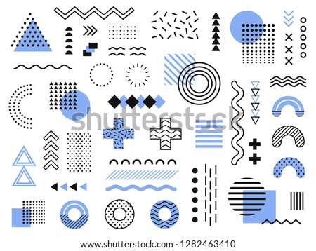 Memphis design elements. Retro funky graphic, 90s trends designs and vintage geometric print illustration element. Constructivism memphis vector isolated symbols collection