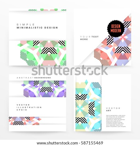 Memphis Geometric background Template for covers, flyers, banners, posters and placards, may be used for presentations and books, EPS10 vector illustration - Shutterstock ID 587155469