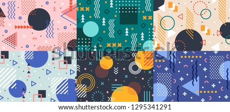 Memphis geometry background. Colorful shapes pattern, vivid coloring texture and funky color patterns abstract. Geometry posters, memphis wallpaper vector backgrounds