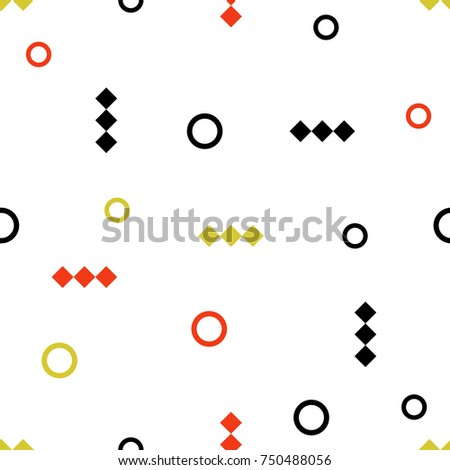 Memphis  geomitric seamless pattern with rhombus and circle. Abstract backgraund for print, textile, poster, design.