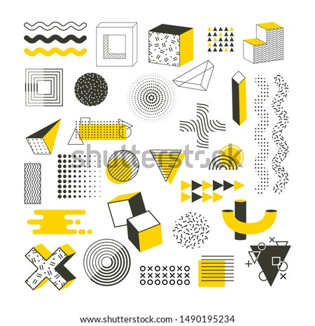 Memphis graphic retro funky graphic, universal trend 80, 90s style. Vintage geometric shapes vector illustration abstract figure in pointillism, memphis, template for poster banner billboard sale.
