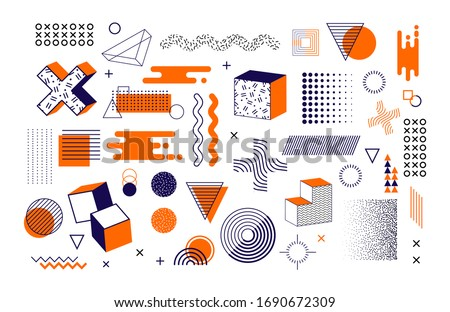 Memphis graphic retro graphic, minimal graphic geometric elements lines. Vintage geometric shapes abstract figure in pointillism, memphis, template for poster banner. Abstract vector line designs.