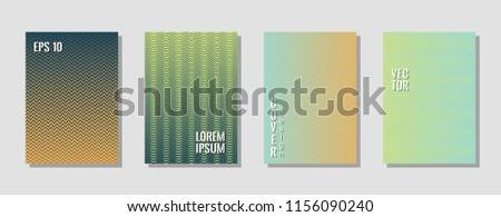 Memphis green zig zag banner templates, wavy lines gradient stripes backgrounds for business cover. Curve shapes stripes, zig zag edge lines halftone texture gradient flyers collection. #1156090240