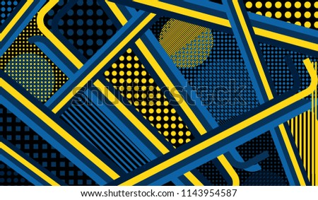 Memphis pattern. Retro pattern with color strips and different elements for paper or print. Retro Pattern with Color Elements for your Design. Vector Texture.